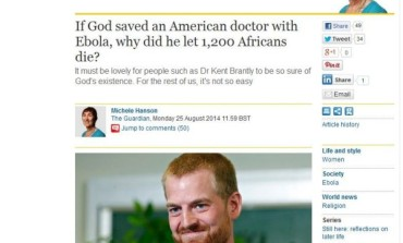 This Article on God & Ebola by The Guardian US is Causing Quite a Stir
