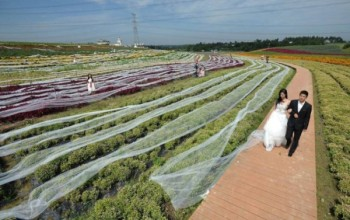WOW! Chinese Woman Aims at World Record with 4.82km Dress Train