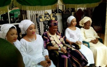 Photos: Alaafin of Oyo and his Oloris welcome well-wishers at their palace