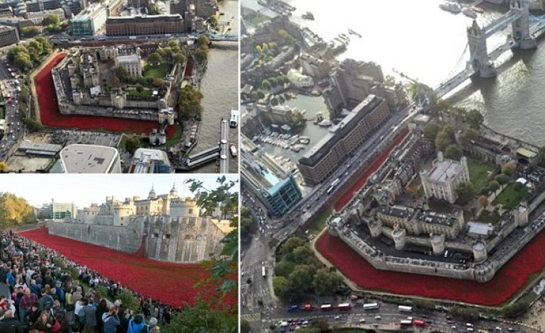 Circled by a sea of scarlet, aerial pictures show The Tower of London moat filled with nearly 900,000 poppies to commemorate the First World War