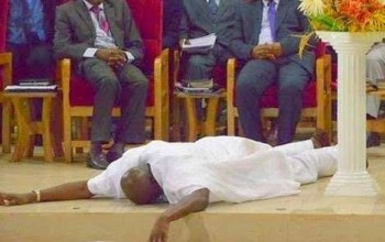 """God gave me a second chance"" – Ekiti Governor Fayose Prostrates for God at Church Service"