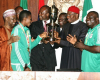 Photo: President Jonathan receives the Super Falcons at the Villa