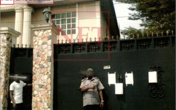 Dbanj's alleged N60m Debt Mess-See Photos of Court Summons pasted on his house..