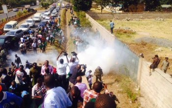 Photos: Kenyan school children tear-gased for protesting against a developer who 'grabbed' their playground