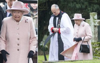 Majesty LOL! It's too chilly for the Queen as she wraps up to attend church service