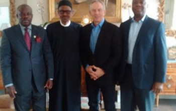 Buhari in London, with Tony Blair, Saraki and Amosun (photos)