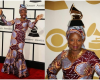 Angélique Kidjo rocks African print as she wins her 2nd Grammy