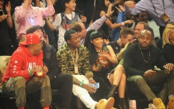 Photos: Nicki Minaj and boo Meek Mill attend basketball game
