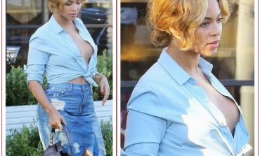 Photo! Beyonce nearly exposes bo obs as she goes bra-less in denim