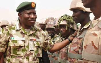 President Jonathan rocks military uniform ,visits troops in Maidugri,Mubi.. (Photos) Featured