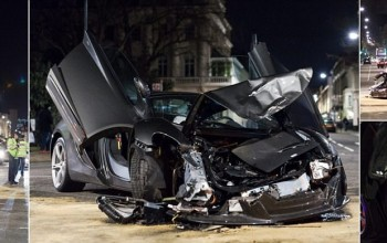 McLaren supercar worth £250,000 almost destroyed in head-on crash with convertible in one of London's most expensive streets