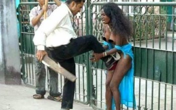 Photo: Ugandan woman stripped and abused in India