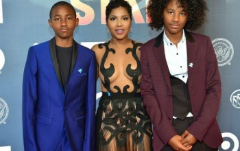 Toni Braxton Steps Out In Sheer Dress With Her Two Sons
