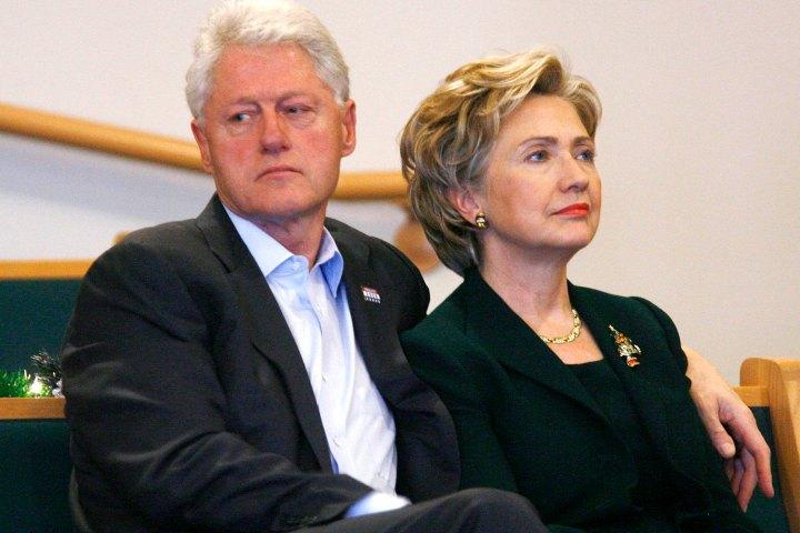 Democratic presidential candidate U.S. Senator Hillary Clinton and her husband former U.S. President Bill Clinton attend church service at Mt. Carmel Missionary Baptist Church in Waterloo, Iowa