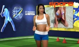 Venezuelan TV presenter strips na k3d during report on #CristianoRonaldo