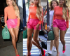 Beyoncé storms the streets of NY with hot pink shorts & orange top