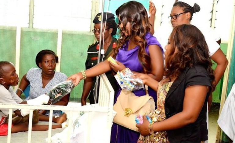 #SupportGhFloodsVictims – Jackie Appiah visited Children & victims who were affected by the flood/gas explosion, Photos