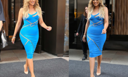 See pictures of #Khloe Kardashian dazzles in blue cut out dress, Sweet!