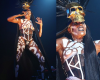 Oh God! 67 year old #GraceJones performed on stage with topless in tribal body paint