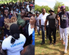 Photographs: Emmanuel Adebayor mobbed by fans on landing in Togo
