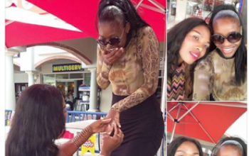 Lady gets down on one knee and proposes to girlfriend who accepted