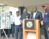 Photos:Gov. Ambode addresses media after site inspection of collapsed building in Lekki Gardens at Ikate Elegushi