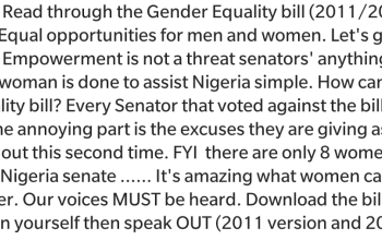 'Women empowerment is not a threat' - Uche Jombo reacts to Senators vote against Gender Equality bill