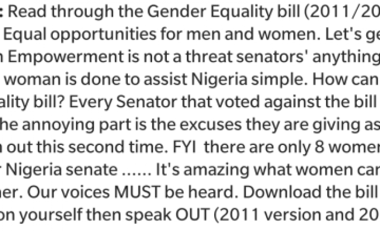 'Women empowerment is not a threat' – Uche Jombo reacts to Senators vote against Gender Equality bill