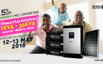 Solve your power problems! Get 15% off iPowerPlus, Nigeria's no1 inverters @ Yudala