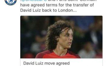 Chelsea agree £32m transfer for return of former player David Luiz from PSG