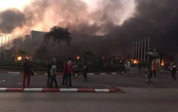 BREAKING: Tension as angry protesters set Senate on fire in Gabon (Photo)
