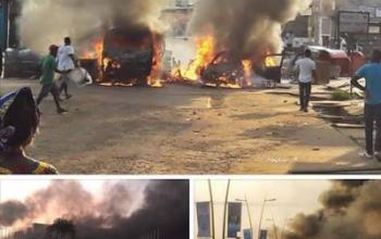 Photos: Gabon Parliament set on fire after President Ali Bongo was declared winner