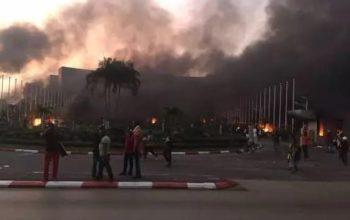PHOTOS: Gabon Parliament Set Ablaze After Pres Bongo Was Declared Winner