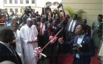 Happening Now: President Buhari's chopper lands in Osun (Video)