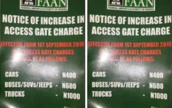 FAAN's 100% toll gate increase suffers setback in Lagos