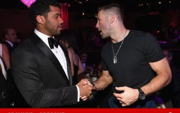 Julian Edelman Bros Out with Russell Wilson at Grammys Party