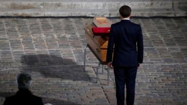 """The French President described Samuel Paty as a """"quiet hero"""" at a memorial in Paris."""