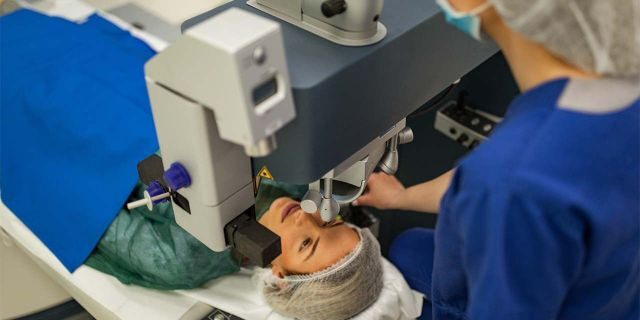 Preparing patient for laser eye surgery